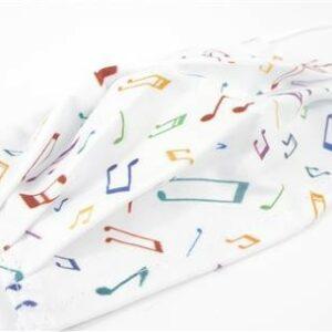 Ansiktsmaske hvit med noter
